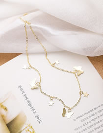 Fashion Golden Butterfly Five-pointed Star Alloy Tassel Necklace