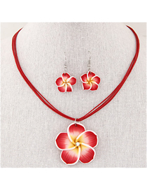 Fashion Red Petal Necklace And Earrings Set