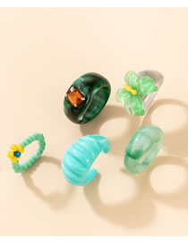 Fashion Color Resin Rice Bead Butterfly Ring Set