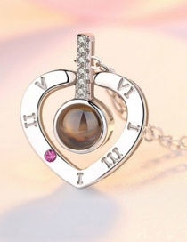 Fashion Love White Gold Diamond Heart Flower Hollow Alloy Necklace