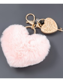 Fashion Pink Brown Alloy Diamond Love Lock Hair Ball Keychain Pendant