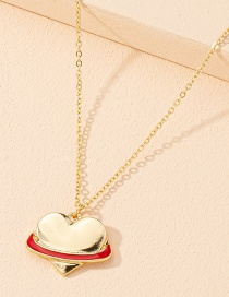 Fashion Gold Color Love Heart Alloy Drop Oil Geometric Pendant Necklace