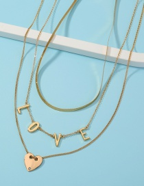 Fashion Golden Letter Love Pendant Multilayer Necklace