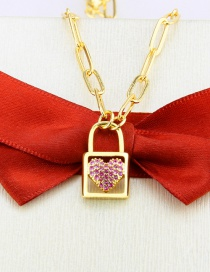 Fashion Gilded Zircon Heart Lock Gold-plated Copper Pendant Necklace