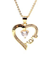 Fashion Golden Love Heart Inlaid Zircon Mom Letter Necklace