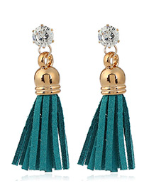 Trendy Blue Diamond&tassel Decorated Pure Color Simple Earrings